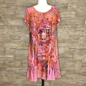 Reina pink bedazzled coffee-themed tunic